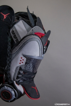 "The 86th sneaker mask created by Freehand Profit. Made from 1 pair of ""Stealth 3s"", Jordan Retros from 2011. Find out more about the work on FREEHANDPROFIT.com."