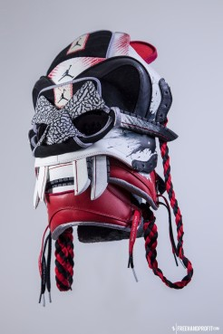 "The 87th sneaker mask created by Freehand Profit. Made from 1 pair of Dave White designed Air Jordan 1s. Mask created by Freehand Profit for Strange Music's Tech N9ne and his Band of Psychos Tour. Tour starts 10/27/2014 - get your tickets VISIT STRANGEVIP.com. Worn here by Nick ""Slick"" Stewart, dancer and part of the Bone Breakers of Brooklyn crew. Find out more about the artwork on FREEHANDPROFIT.com."