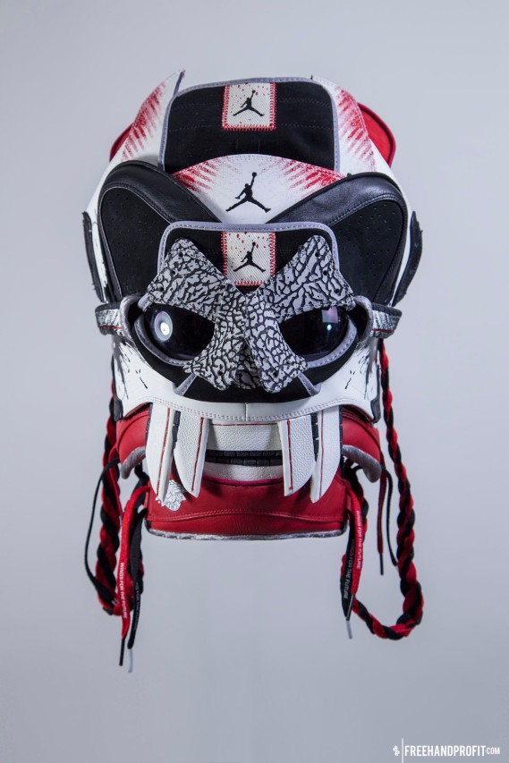 """The 87th sneaker mask created by Freehand Profit. Made from 1 pair of Dave White designed Air Jordan 1s. Mask created by Freehand Profit for Strange Music's Tech N9ne and his Band of Psychos Tour. Tour starts 10/27/2014 - get your tickets VISIT STRANGEVIP.com. Worn here by Nick """"Slick"""" Stewart, dancer and part of the Bone Breakers of Brooklyn crew. Find out more about the artwork on FREEHANDPROFIT.com."""