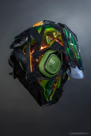 """The 88th sneaker mask created by Freehand Profit. Made from 3 pairs of Nike Lebron XI """"King's Crown"""" EXT. Find out more about the work on FREEHANDPROFIT.com."""