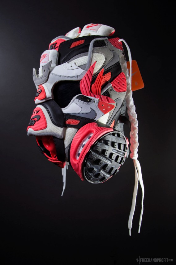The 90th sneaker mask created by Freehand Profit. Made from 2 pairs of Infrared Air Max 90s, 1 adult size, 1 kids size. Released on Air Max Day 2015 in celebration of the 25th anniversary of the Air Max 90. Find out more about the work on FREEHANDPROFIT.com.