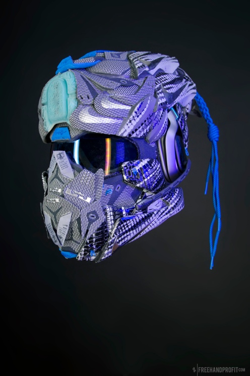 The 103rd sneaker mask created by Freehand Profit. Made from 3 pairs of Nike ID LeBron XIIs, this wireless gaming helmet features an A40 headset by ASTRO Gaming. Find out more about the work on FREEHANDPROFIT.com.