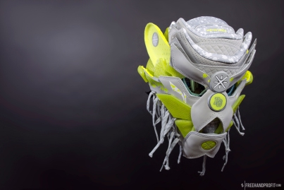 "The 106th sneaker mask created by Freehand Profit. Made from 1 pair of ""Lemon Drip"" Way of Wade 3s by Li-Ning. Find out more about the work on FREEHANDPROFIT.com."