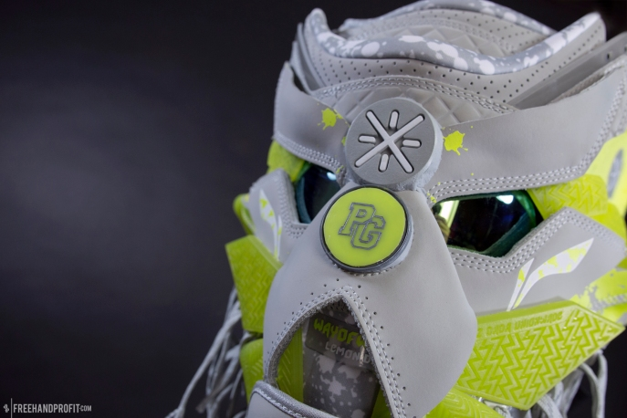 """The 106th sneaker mask created by Freehand Profit. Made from 1 pair of """"Lemon Drip"""" Way of Wade 3s by Li-Ning. Find out more about the work on FREEHANDPROFIT.com."""