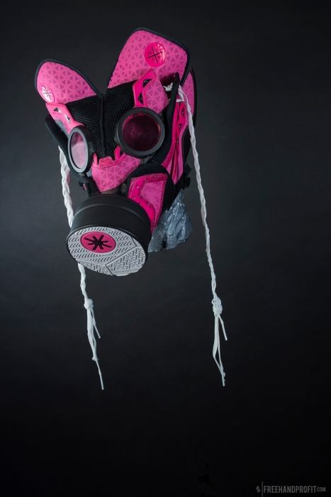 "The 109th sneaker mask created by Freehand Profit. Made from a single pair of ""Miami Rose"" Way of Wade 3s by Li-Ning. Find out more about the work on FREEHANDPROFIT.com."