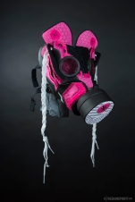 """The 109th sneaker mask created by Freehand Profit. Made from a single pair of """"Miami Rose"""" Way of Wade 3s by Li-Ning. Find out more about the work on FREEHANDPROFIT.com."""