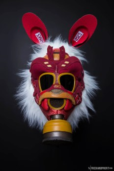 The 113th sneaker mask created by Freehand Profit. Made from 1 pair of Asics Gel Lyte IIIs, inspired by Miyazaki's stellar animated filme 'Princess Mononoke'. Find out more about the work on FREEHANDPROFIT.com.