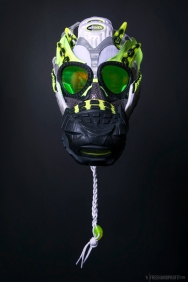 "The 101st sneaker mask created by Freehand Profit. Made from1 pair of Nike Air Max 95s in ""Animal OG Neon"". Find out more about the work on FREEHANDPROFIT.com."