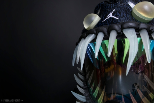 The 111th sneaker mask created by Freehand Profit. Made from 1 pair of Jordan Doernbecher 5s. Find out more about the work on FREEHANDPROFIT.com.