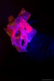 """Cleveland Jade"" Jordan 1 mask. Cast resin. Glow in the Dark & UV reactive. 1 of 1. SHOPFREEHAND.com"