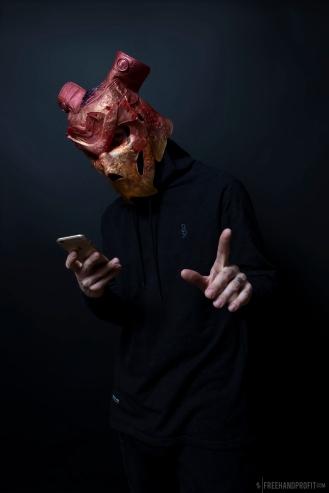 """Cleveland Jade"" Jordan 1 mask. Cast resin. Glow in the Dark & UV reactive. 1 of 1. SHOPFREEHAND.com"
