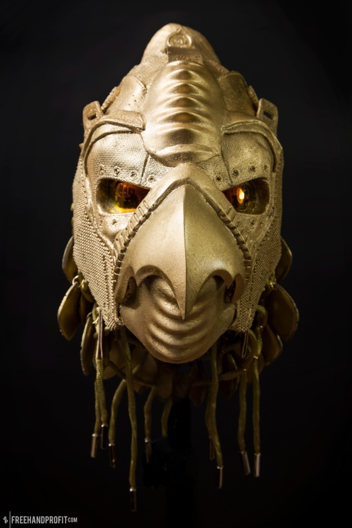 The 118th sneaker mask created by Freehand Profit. Made from a single pair of custom golden Yeezy IIs. Inspired by the Ancient Egyptian God, Horus. Find out more about the work on FREEHANDPROFIT.com.