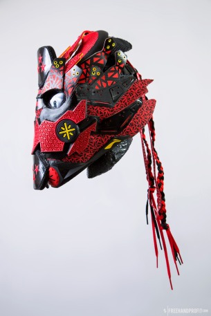 The 119th sneaker mask created by Freehand Profit. Made from 1 pair of Li-Ning Way of Wade 4s. Find out more about the work on FREEHANDPROFIT.com.