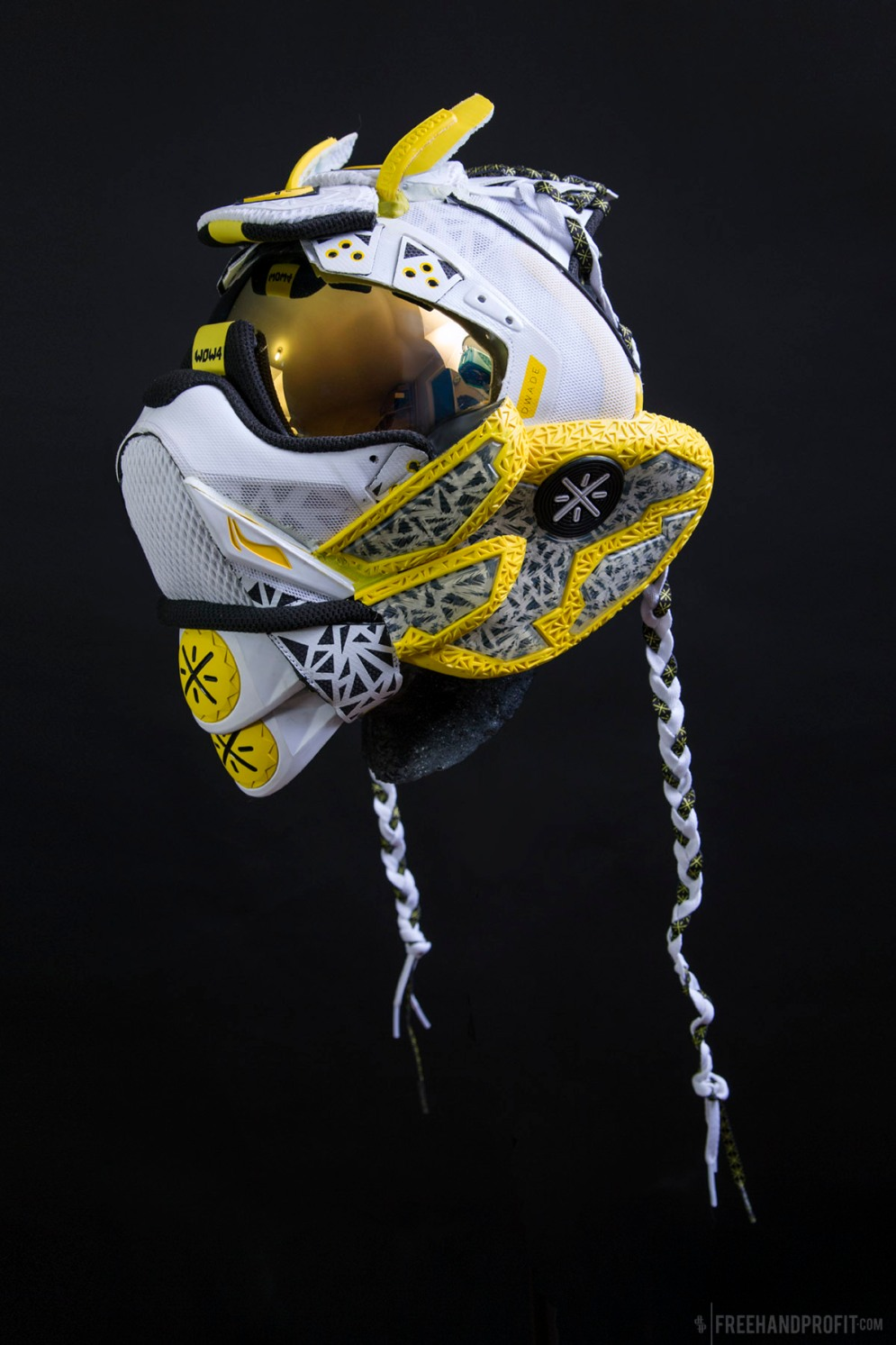 "The 120th sneaker mask created by Freehand Profit. Made from a single pair of ""Overtown"" Way of Wade 4s. Find out more about the work on FREEHANDPROFIT.com."