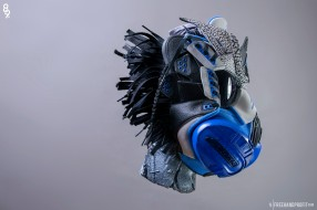 The 125th sneaker mask created by Freehand Profit. Made from a single pair of Sport Blue IIIs. Created for @Figgs8and9 of @8and9 Clothing (8and9.com). Find out more about the work on FREEHANDPROFIT.com.