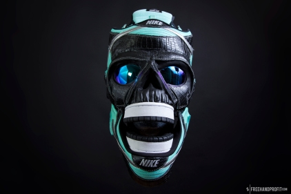 The 123rd sneaker mask created by Freehand Profit. Made from a single pair of Tiffany Dunk Lows. In the form of a grim reaper (skull) mask, appropriate enough for the reaper of soles. Find out more about the work on FREEHANDPROFIT.com.