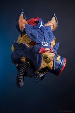 The 146th sneaker mask created by Freehand Profit. Made from 1 pair of Air Jordan Doernbecher VIs. Find out more about the work on FREEHANDPROFIT.com.
