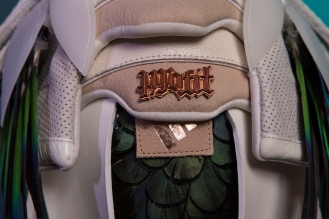 """The 151st sneaker mask created by Freehand Profit. Made from a single pair of adidas """"Oddity Luxe"""" EQTs. Find out more about the work on FREEHANDPROFIT.com."""