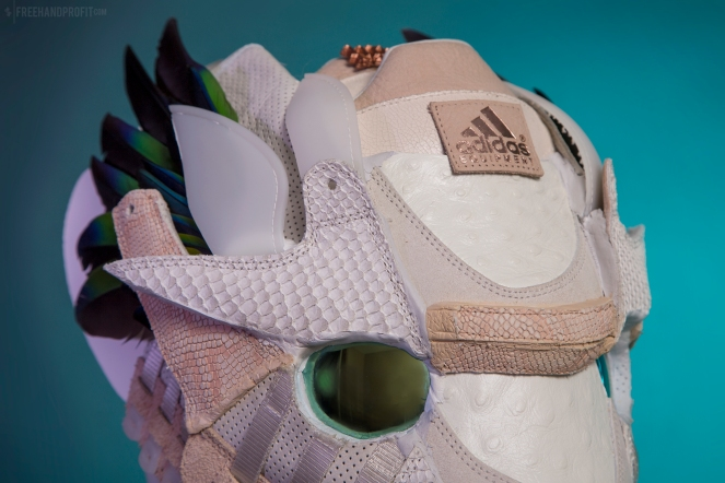 "The 151st sneaker mask created by Freehand Profit. Made from a single pair of adidas ""Oddity Luxe"" EQTs. Find out more about the work on FREEHANDPROFIT.com."