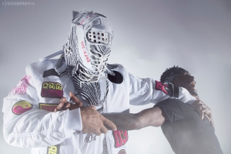"The 165th sneaker mask created by Freehand Profit. Made from 2 pairs of adidas Yeezy 350 Boost V2 ""Zebras"", inspired by Storm Shadow (G.I.Joe). Find out more about the work on FREEHANDPROFIT.com."