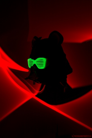 The shutter shades attach to the helmet using magnets. They were made using a silicone mold of the Yeezy (Air Tech Challenge II) sole, and of course they glow in the dark!