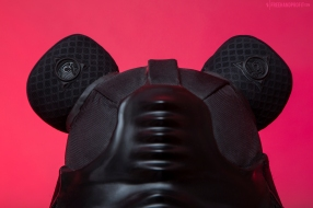 The 130th sneaker mask created by Freehand Profit. Made from a single pair of Yeezy IIs. Inspired by the Sith without quit, the intergallatic man in black, Darth Vader. Crossed with a hint of Kanye West's 'College Dropout' Bear. Find out more about the work on FREEHANDPROFIT.com.