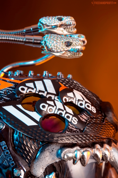 The 169th sneaker mask created by Freehand Profit. Created for adidas Football US from multiple pairs of the adidas Freak football cleat. Find out more about the work on FREEHANDPROFIT.com.