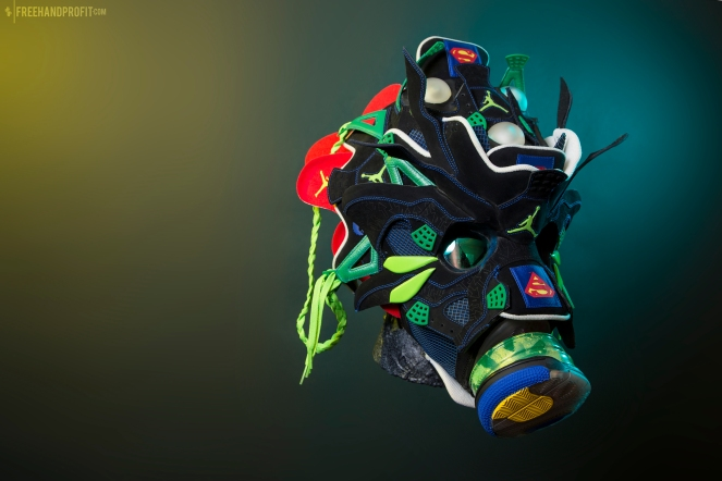 The 174th sneaker mask created by Freehand Profit. Made from 2 pairs of Doernbecher Jordan IVs. Find out more about the work on FREEHANDPROFIT.com.