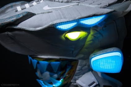 The 154th sneaker mask created by Freehand Profit. Made from a single pair of 2011 Nike MAGs. Find out more about the work on FREEHANDPROFIT.com.