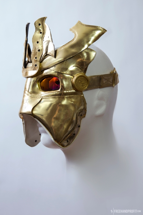 The 122nd sneaker mask was actually 2 masks created from a single pair of Liquid Gold AF1s. The mask was created by Freehand Profit for rapper Trinidad James. Find out more about the work on FREEHANDPROFIT.com.