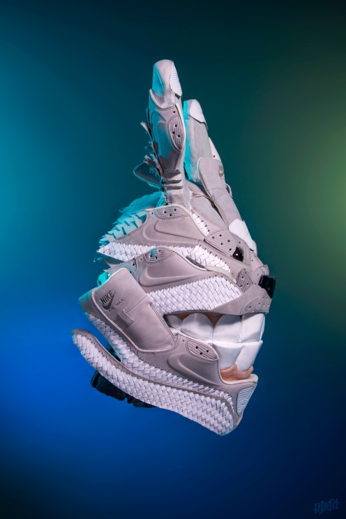 """The 185th sneaker mask created by Freehand Profit. Made from 2 pairs of woven Nike Air Max 90s. This mask was inspired by Hayao Miyazaki's animated film """"My Neighbor Totoro"""" and was a part of Spoke Art's Miyazaki Tribute show in Santa Monica, CA. Find out more about the work on FREEHANDPROFIT.com."""