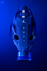The 186th sneaker mask created by Freehand Profit. Made from a single pair of Deep Royal Jordan 12s for Kiel Colon Cancer Foundation. Find out more about the work on FREEHANDPROFIT.com.