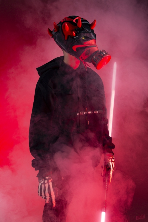 The 183rd sneaker mask created by Freehand Profit. Made from a pair of Satin Bred 1s. Find out more about the work on FREEHANDPROFIT.com.