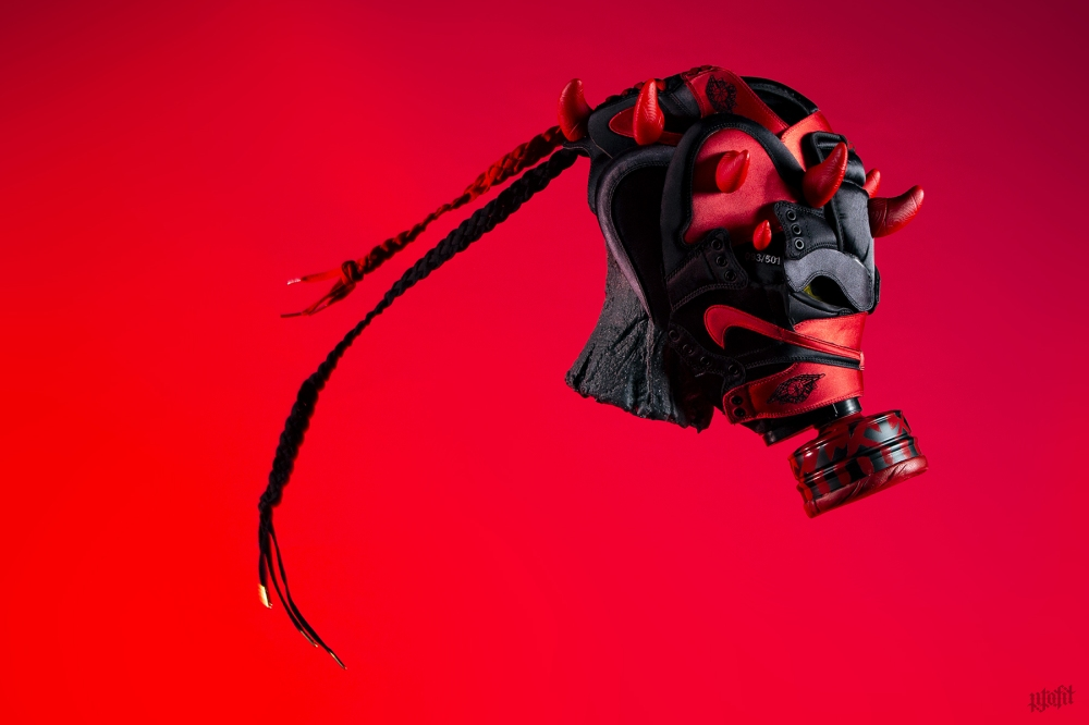Satin Jordan 1 Darth Maul Gas Mask by Freehand Profit