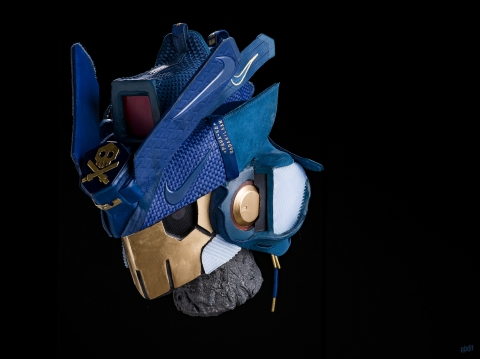 The 164th sneaker mask created by Freehand Profit. Made from 2 pairs of Nike LeBrons (LeBron 14 & Soldier 12). Find out more about the work on FREEHANDPROFIT.com.